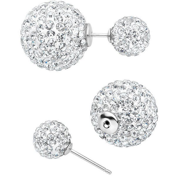 Sterling Silver Glass Stones Barbell Front-back Earrings
