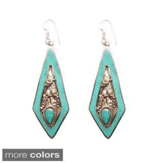 Silvertone Diamond-shaped Turquoise Earrings (Nepal)