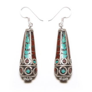 Antique Turquoise and Red Coral Teardrop Earrings (Nepal)