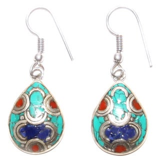 Silvertone Teardrop Earrings with Multi-colored Stones (Nepal)