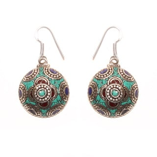 Handmade Round-shaped Floral Dangle Earrings (Nepal)