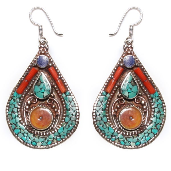 Multicolored Teardrop Earrings (Nepal)