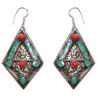 Silvertone Turquoise and Coral Diamond-shaped Earrings (Nepal)