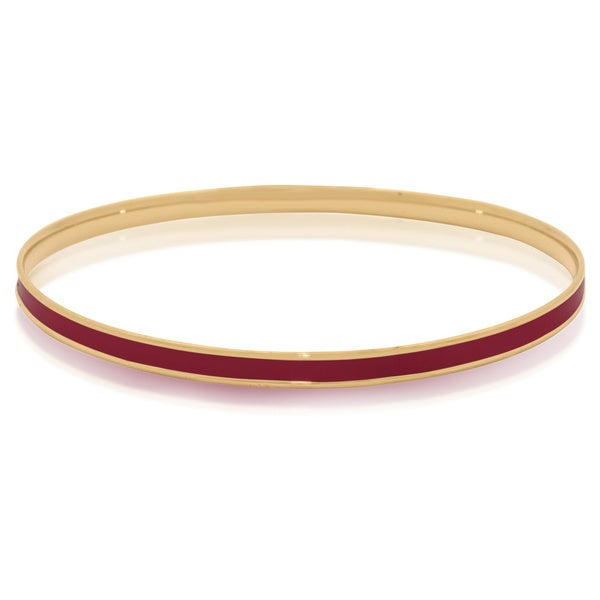 Gioelli Sterling Silver Yellow Gold Plated Colored Enamel Bangle Bracelet