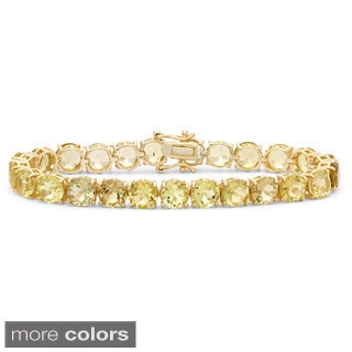 Gioelli Sterling Silver Yellow Gold Plated 7mm Round Cut Quartz Bracelet