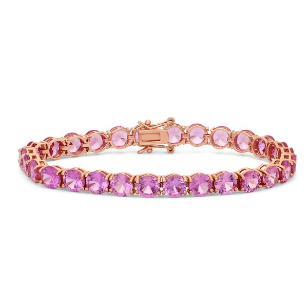 Gioelli Sterling Silver Rose Gold Plated 6mm Round Cut Gemstones Bracelet