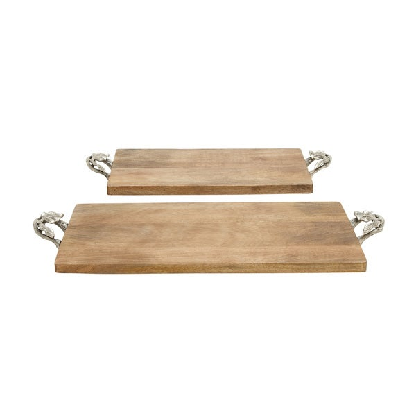 Natural Finished Wood Metal Tray