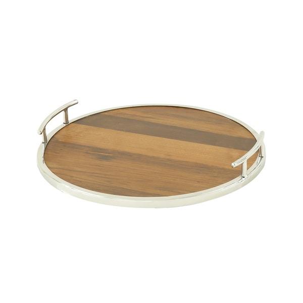 Round Wood Steel Tray