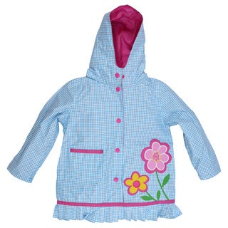 Wippette Girls' Hooded Gingham Trench Raincoat