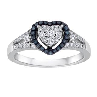 Platinaire 3/8ct TDW Blue and White Diamond Heart Engagement Ring (I-J, I2-I3)