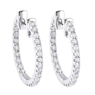 Beverly Hills Charm 10k White Gold 1/2ct TDW Round Diamond Inside-out Hoop Earrings (H-I, I2-I3)