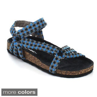 C Label Women's Iria-3 Fabric Comfort Footbed Sandals