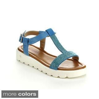 Via Pinky Women's Fallon-08 Sparkly Open Toe T-strap Sandals