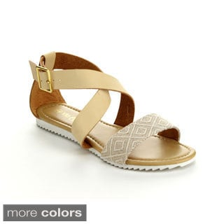 Via Pinky Women's Ayla-21 Open-toe Woven Strap Flat Sandals