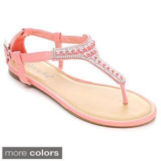 Sunny Day Women's Zalia-7 Crystal T-strap Flat Sandals