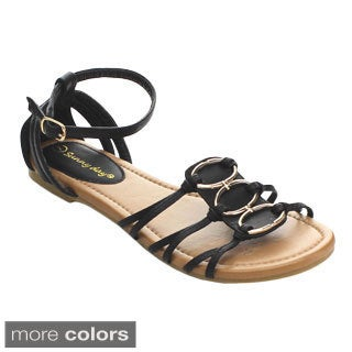 Sunny Day Women's Stella-1 Strappy Metal Ring Ankle Strap Sandals