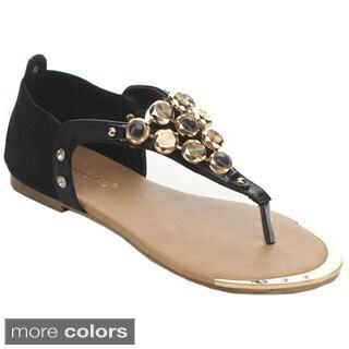 Sunny Day Women's Louisa-9 Large Gemstone T-strap Flat Sandals