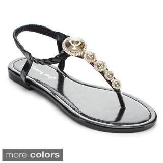 Sunny Day Women's Jayden-19 Braided Thong Flat Sandals