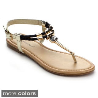 Sunny Day Women's Glint-1 T-strap Metal Wrapped Buckled Flat Sandals