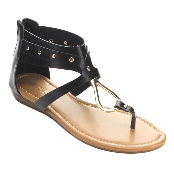 Rck Bella Women's Avia-19 Golden Stud Low Wedge Dress Sandals