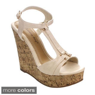 Sunny Day Women's Marcas-6 T-strap Ankle Strap Platform Wedges