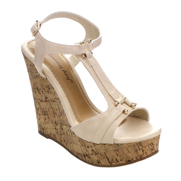 Sunny Day Women's Marcas-6 T-strap Ankle Strap Platform Wedges