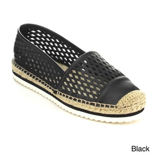 C-Label Women's 'Atami-3' Perforated Slip-on Espadrille Flats