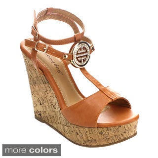 Sunny Day Marcus-13 Women's T-Strap Medallion Ankle Strap Wedges