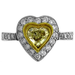 18k Two-tone Gold 1 1/4ct TDW Heart-cut Fancy Yellow Diamond Engagement Ring (G-H, SI1-SI2)