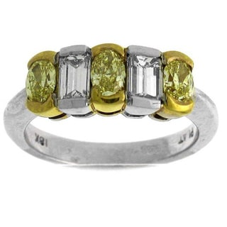 Platinum 1 1/2ct TDW Yellow and White Diamond Fashion Ring (G-H, SI1-SI2)