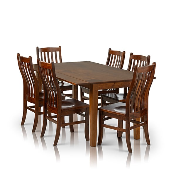 Somette 7 piece solid maple wood dining set with drop leaf for Wood dining sets with leaf