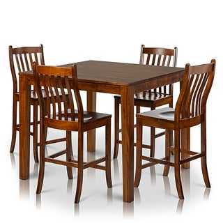Somette 5-piece Solid Maple Wood Dining Set with Counter-height Square Table and Chairs