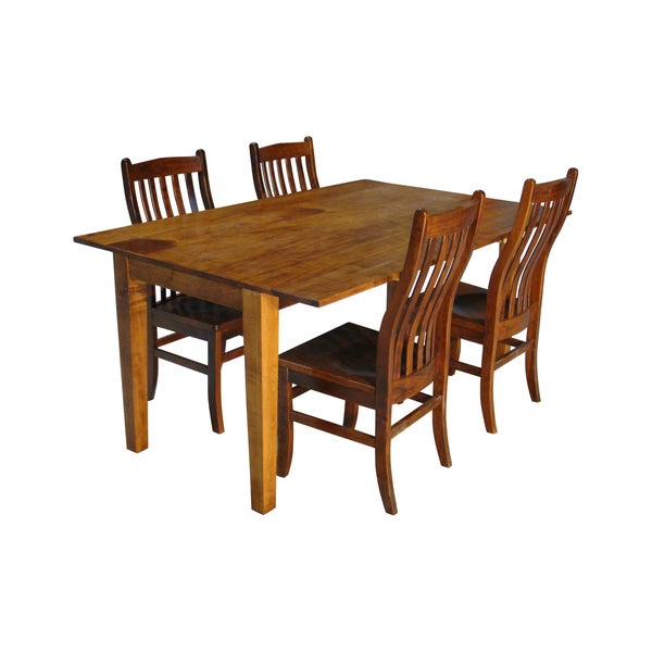 Maple Wood Drop Leaf Rectangle Table And Side Chairs 5 Piece Set