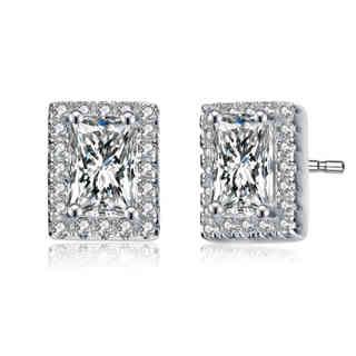 Collette Z Sterling Silver Cubic Zirconia Square Shape Earrings