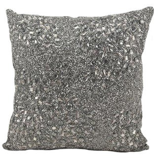 Mina Victory Luminescence Fully Beaded Pewter Throw Pillowby Nourison (20-Inch X 20-Inch)