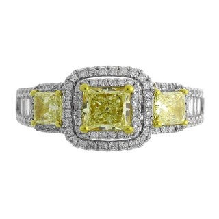 18k Two-tone Gold 1 7/8ct TDW Princess-cut Fancy Yellow Diamond Engagement Ring (G-H, SI-SI2)