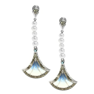 Dallas Prince Silver Marcasite, blue topaz, Pearl and Enamel Fan Earrings