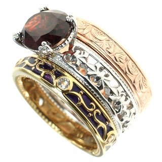 Dallas Prince Sterling Silver 3 Tone Stacking Rings with Garnet