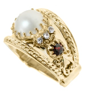 Dallas Prince Silver Mabe Pearl and White Sapphire, Garnet Ring