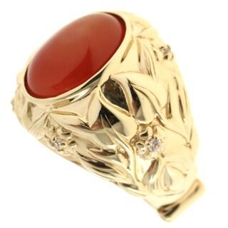 Dallas Prince Gold Over Silver Carnilian and White Sapphire Ring