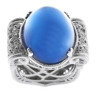Dallas Prince Silver Blue Agate Filigree Ring