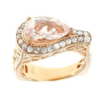 Dallas Prince Sterling Silver Morganite and Zircon Filigree Ring