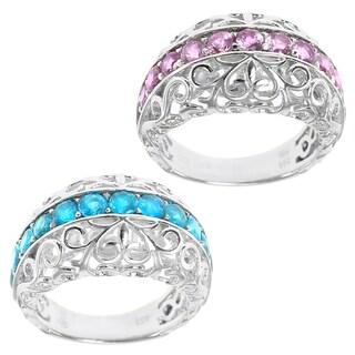 Dallas Prince Sterling Silver Swiss Blue Topaz & Pink Tourmaline Filgree Ring