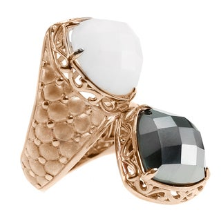 Dallas Prince Sterling White Agate and Hematite Bypass Ring