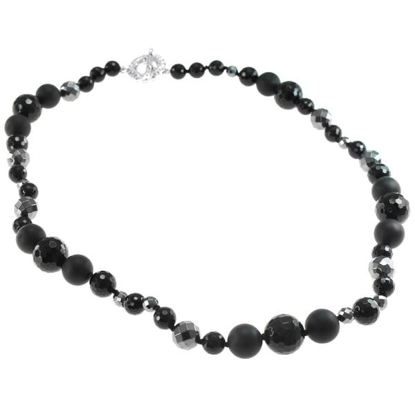 Michael Valitutti Silver Hematite & Black Agate Necklace
