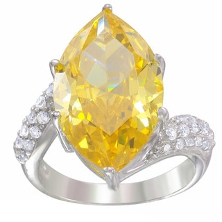 Sterling Silver Canary Cubic Zirconia Marquise Ring