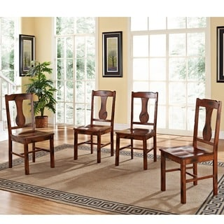 Dark Oak Wood Dining Chairs (Set of 4)