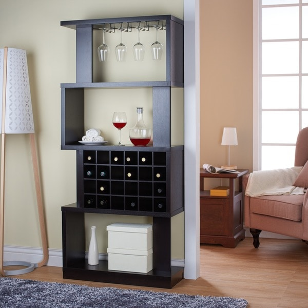 Furniture of america darlene tall cappuccino 4 tier wine for Furniture of america alton modern multi storage buffet espresso