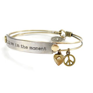 Sweet Romance 'Live in the Moment' Inspirational Message Bangle Bracelet