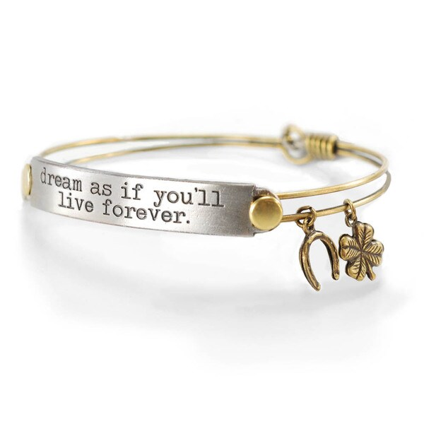 Sweet Romance 'Dream as if You'll Live Forever' Inspirational Message Bangle Bracelet